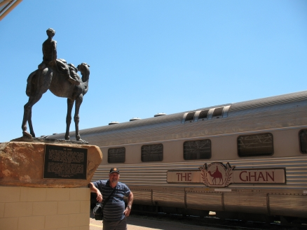 Mike ready to board The Ghan, Alice Springs.