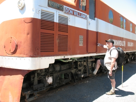 Mike inspecting an old Ghan locomotive.