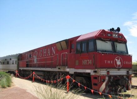 The Ghan loco, Alice Springs Railway Station.