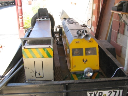 Loco and carriage ready for use at Ghan Museum.