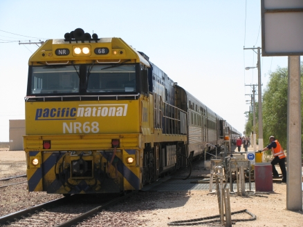 Indian Pacific stopped at Cook, Nullabor Plains, Western Australia for refuelling.