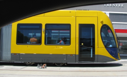 Gold Coast Light Rail tram on a test run.