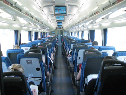 Interior view of the Tilt Train.