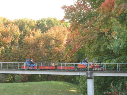 Manakau Live Steamers loco on the viaduct backdropped by autumn trees.