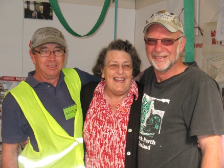 Birthday girl - Val Blackburn flanked by two wellwishers.