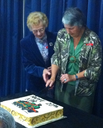 The two Marys cut the Anniversary Cake.